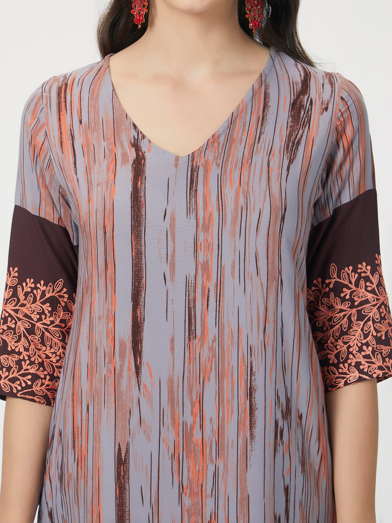 Grey Brown Printed Kurta