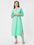 Sea Green Embroidered Silk Kurta