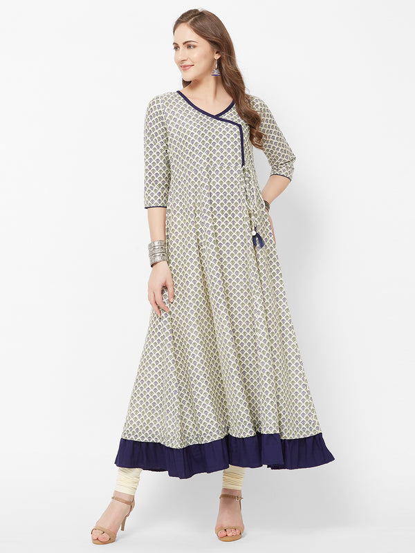 Cream Printed Long Dress