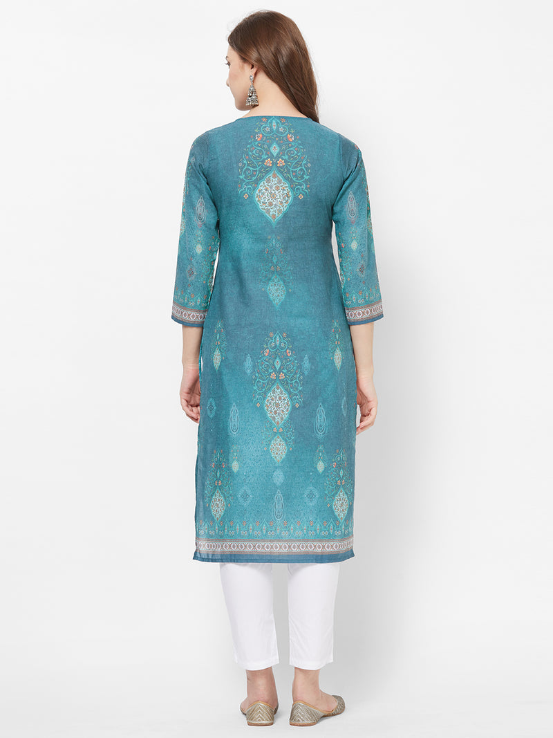 Sea Green Printed Kurta