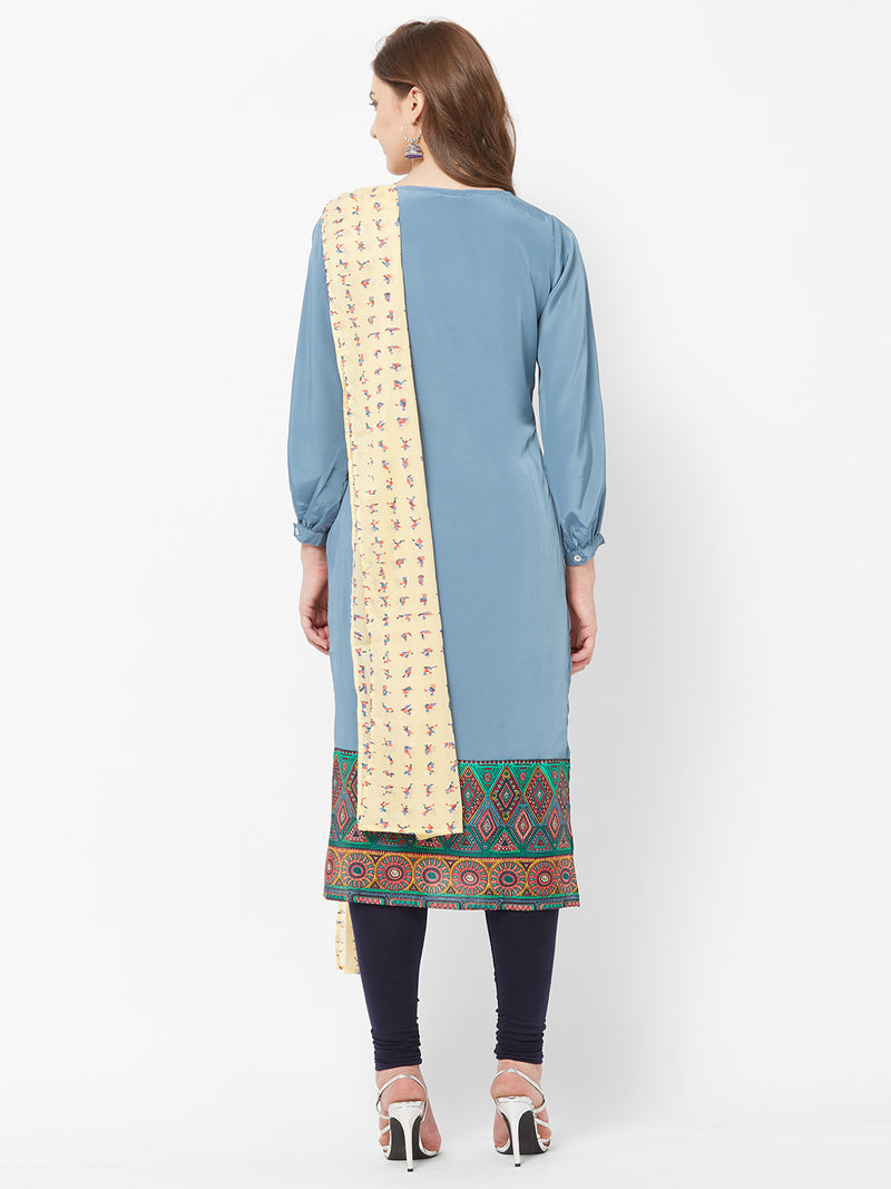 Blue Printed Kurta Dupatta Set
