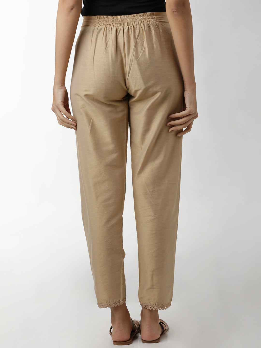 Breya Silk Lace Hem Narrow Beige Trouser