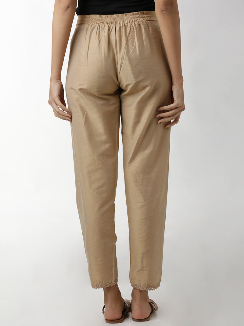 Silk Lace Hem Narrow Beige Trouser