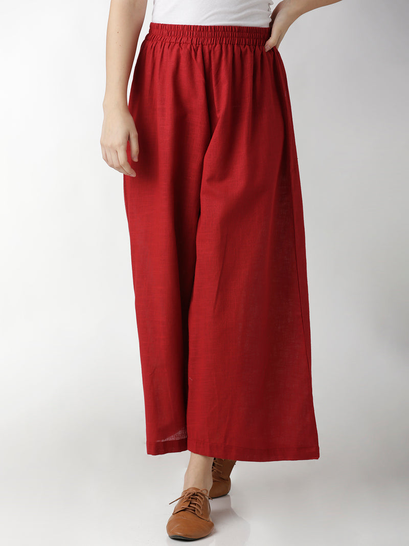 Palazzo Solid Dark Red Pants
