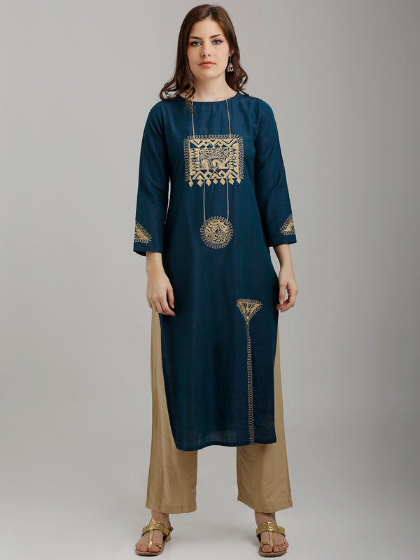Golden Embroidered Teal Blue Silk Kurta