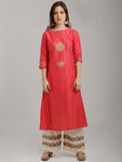 Breya Golden Embroidered Peach Silk Kurta