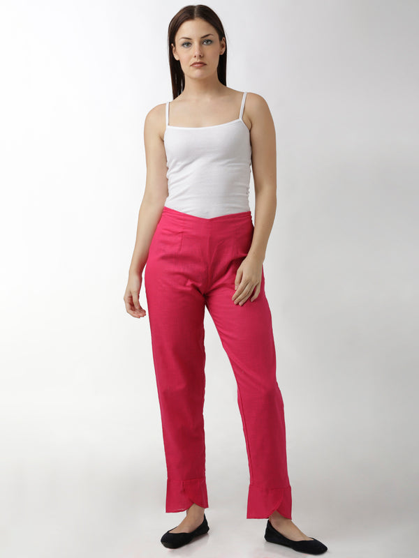 Magenta Overlap Narrow Pants