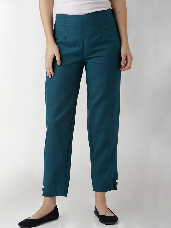 Blue Linen Narrow Pants