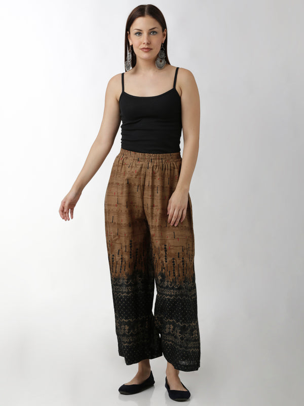 Palazzo Black & Beige Ombre Printed Pants