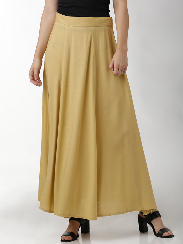 Flared Solid Beige Skirt