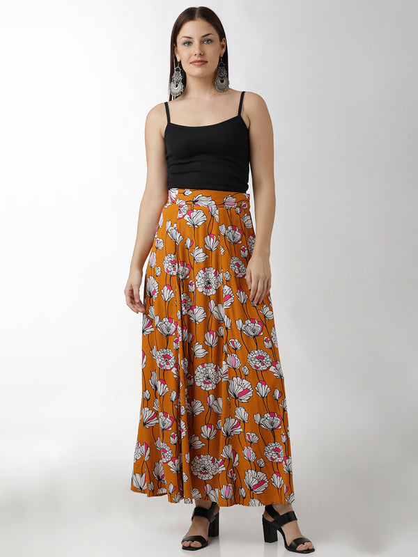 Orange Floral Printed Skirt