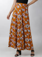 Breya Floral Printed Orange Full Length Flared Skirt