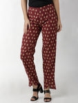 Breya Printed Maroon Overlap Hem Full Length Narrow Trouser