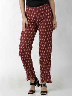 Narrow Printed Maroon Trouser