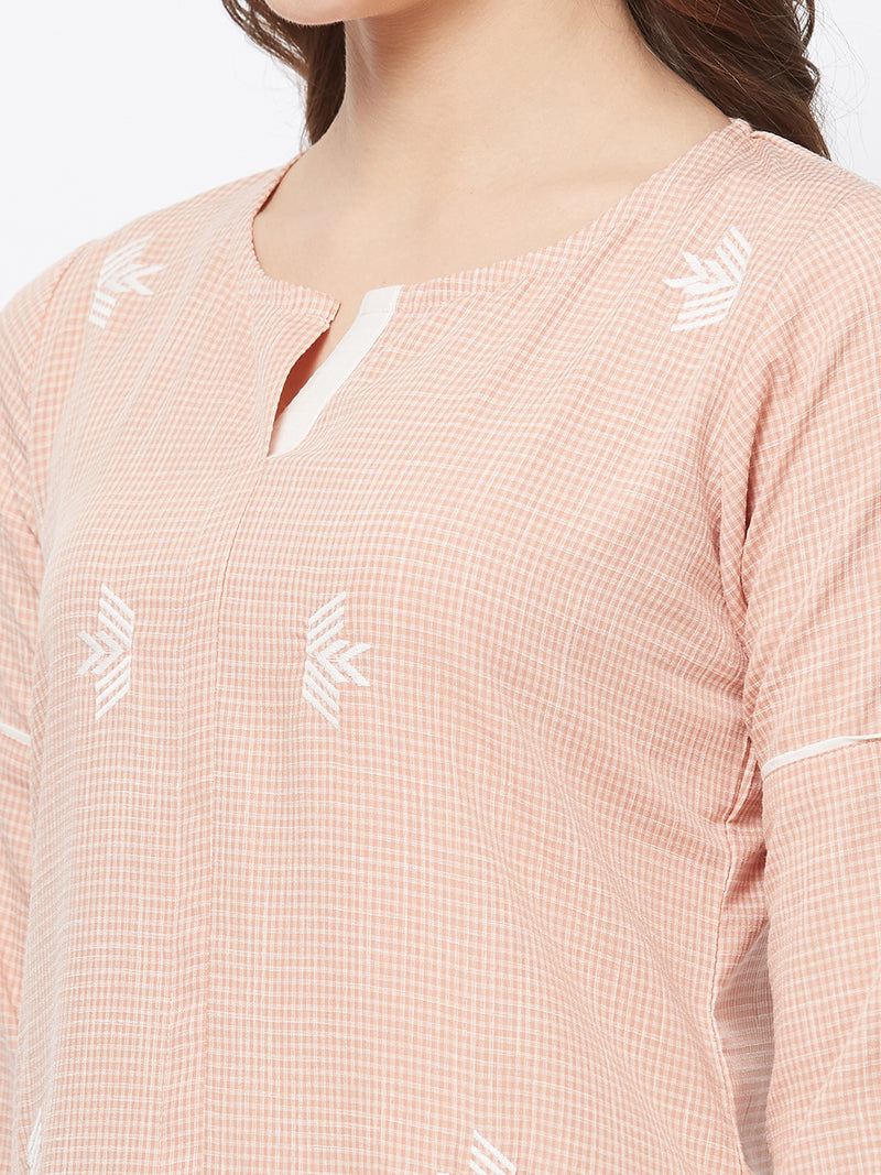 Peach Embroidered Kurta
