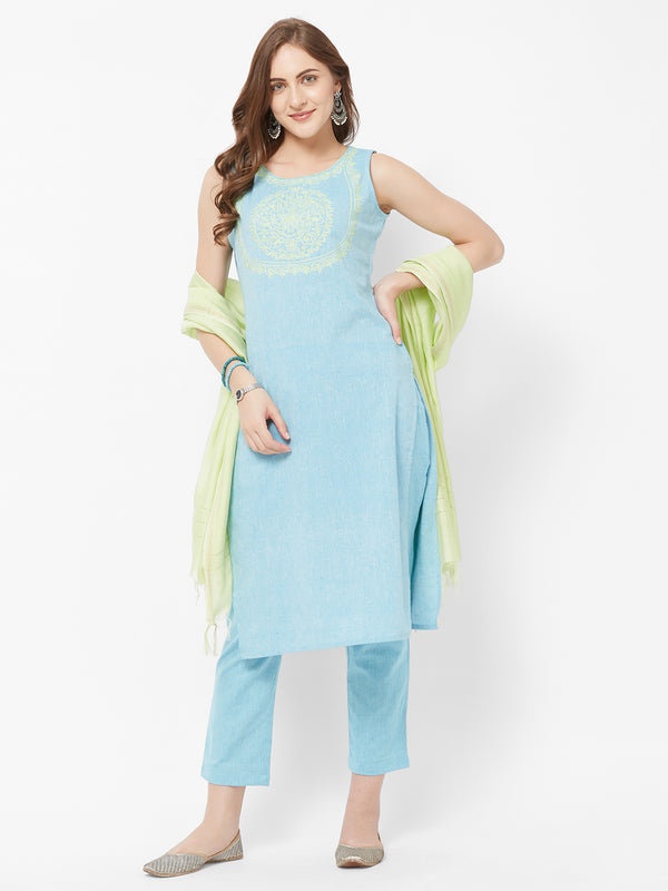 Blue Embroidred Kurta