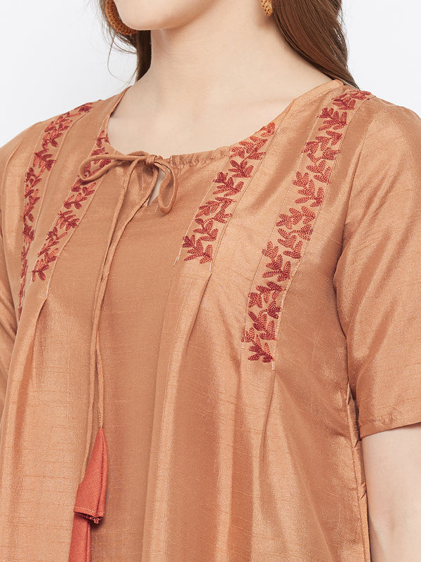 Rust Embroidered Kurta
