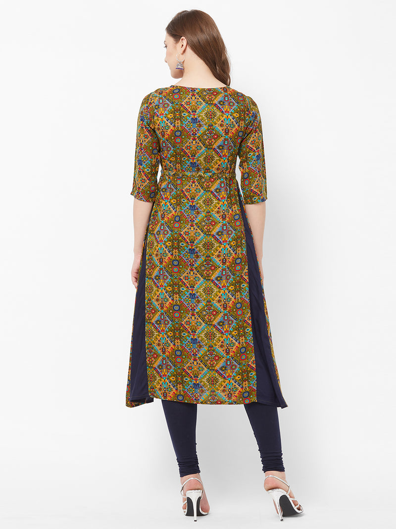 Navy Blue Printed Kurta