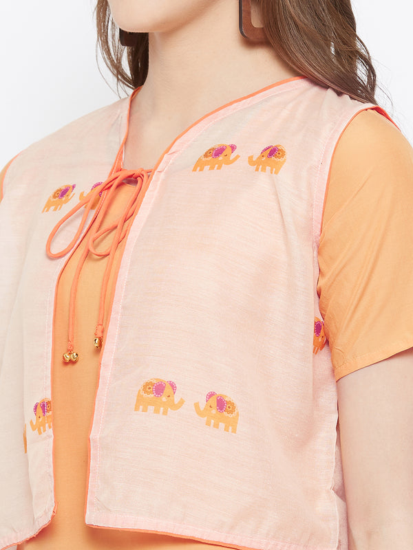 Orange Kurta Jacket Set
