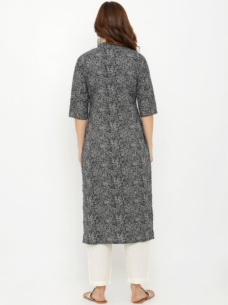 Semiformal Black Printed Kurta