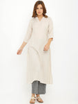 Breya A-Line Plain Solid Off White Basic Kurta