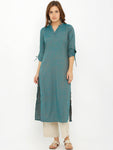 Breya Straight Solid Teal Blue Tie Up Sleeves Kurta