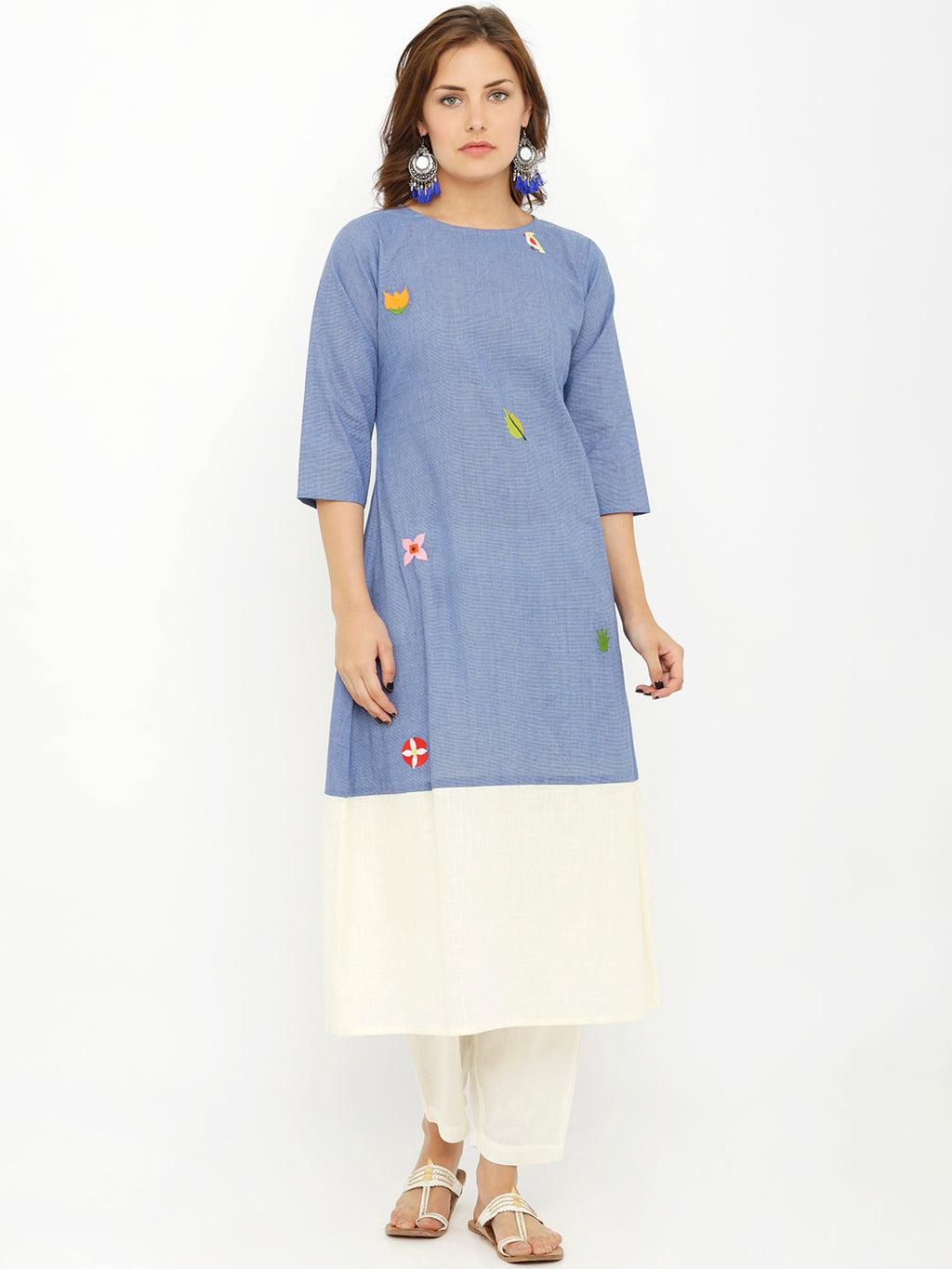 Breya A-Line Solid Blue And White Embroidered Kurta