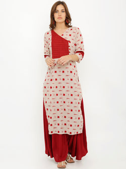 V Neck Straight Pintuck Patch Straight Ikkat Print Kurta
