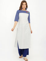 Breya Blue Yoke Cream Straight Embroidered Kurta
