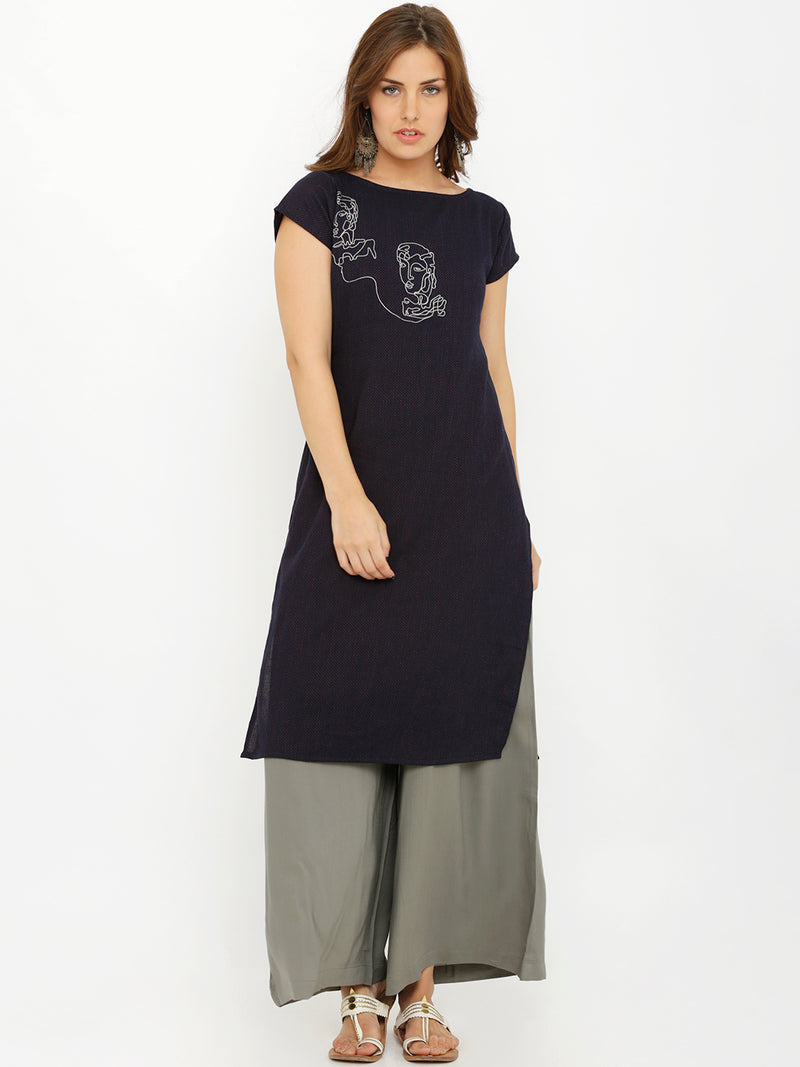Statement Embroidery Short Sleeves Straight Kurta