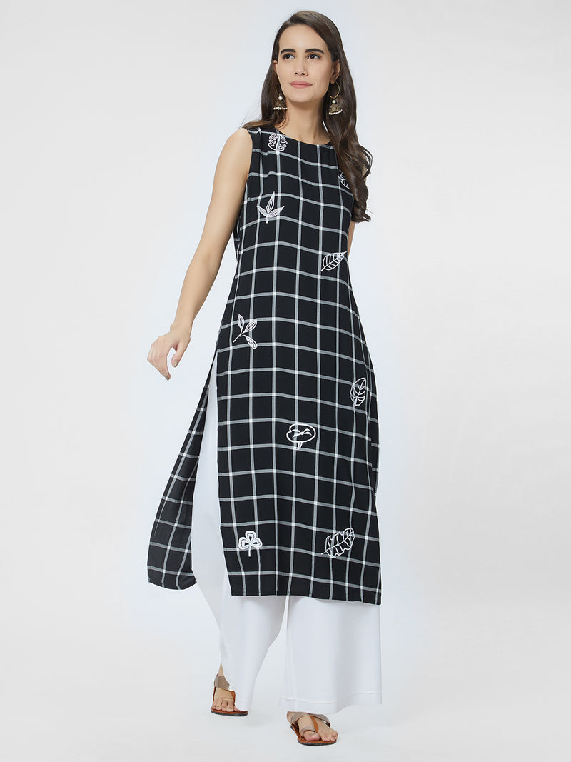 Black Checked Kurta