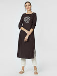 Brown Embroidered Straight Kurta
