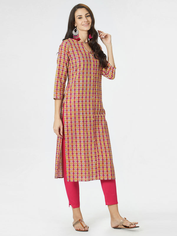 Magenta Checks Kurta