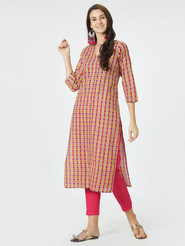 Magenta & Yellow Checks Kurta