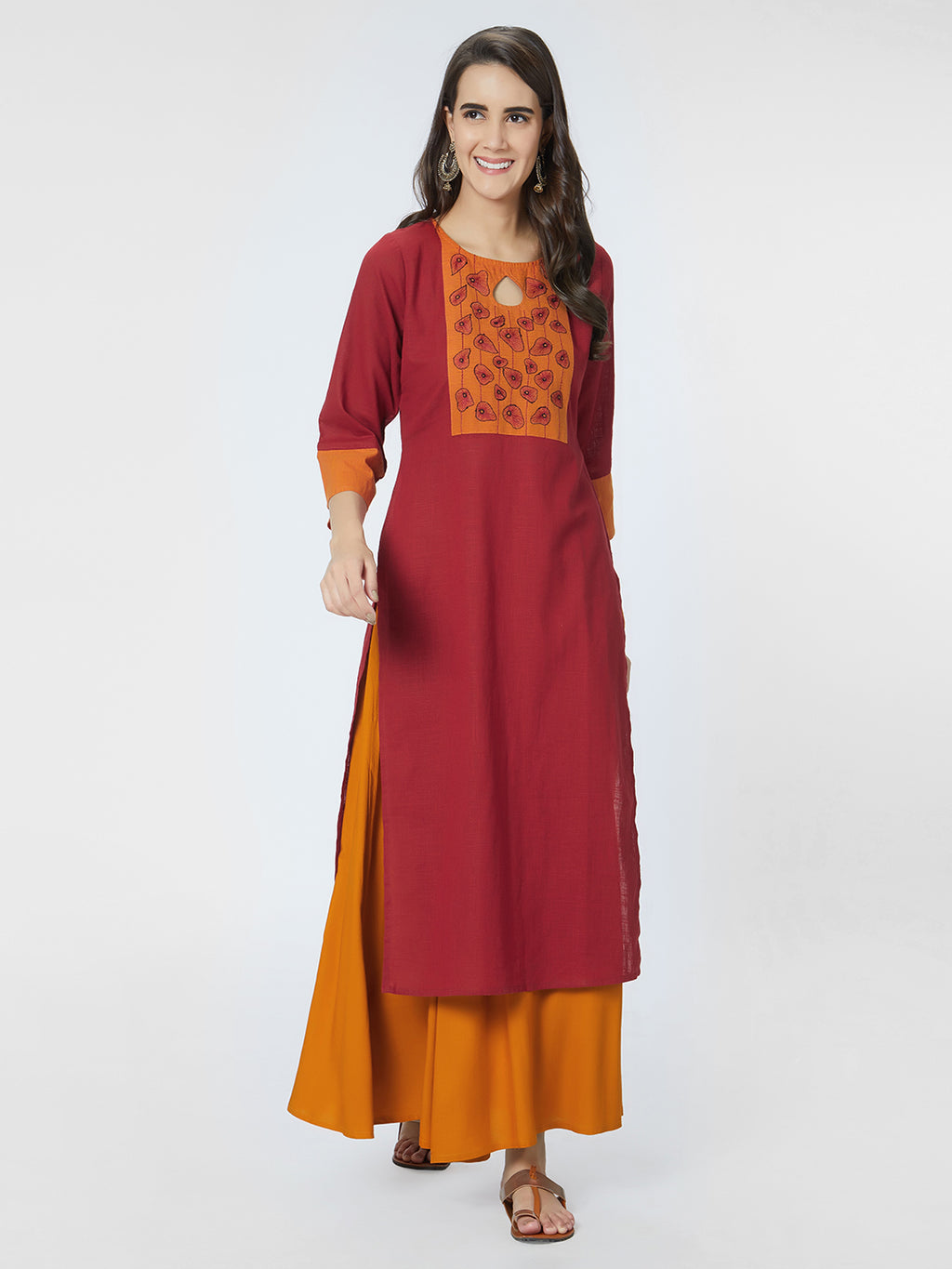 Red Embroidered Straight Kurta
