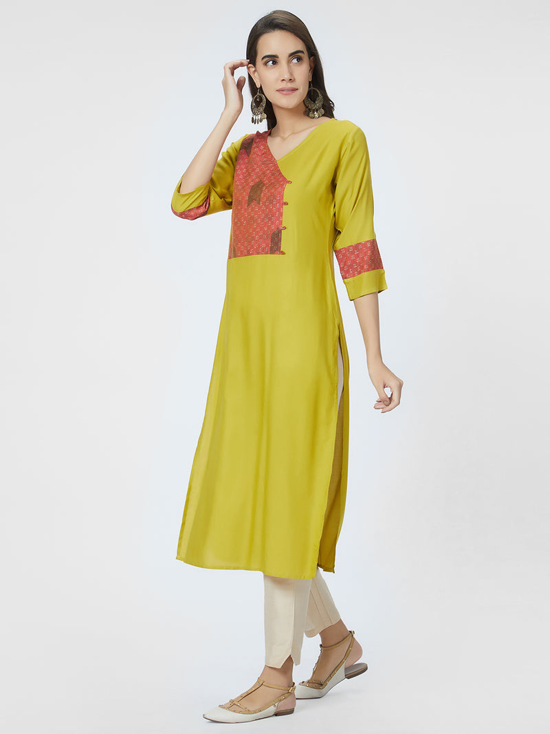 Green Red Printed Kurta