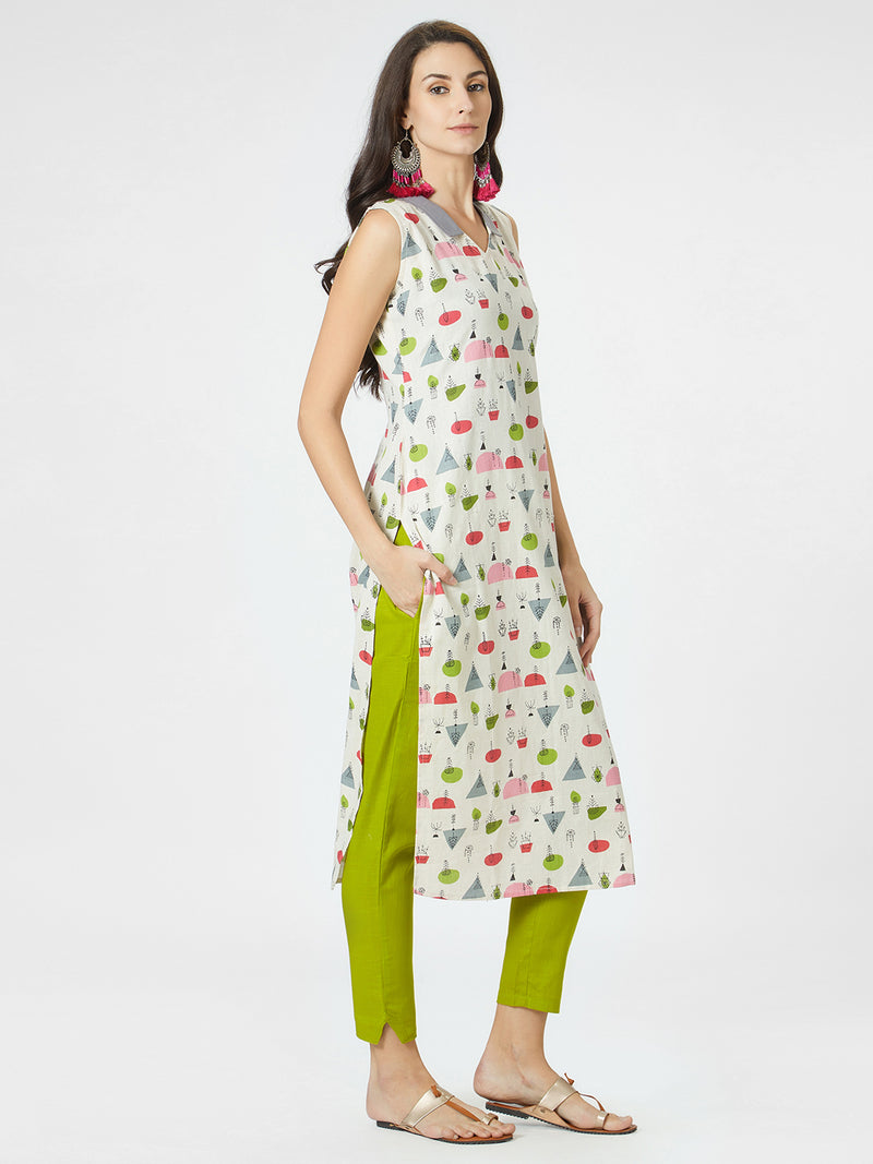 Geometric Printed Sleeveless Kurta