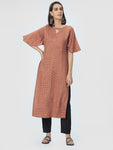Rust Brown Checked Straight Kurta