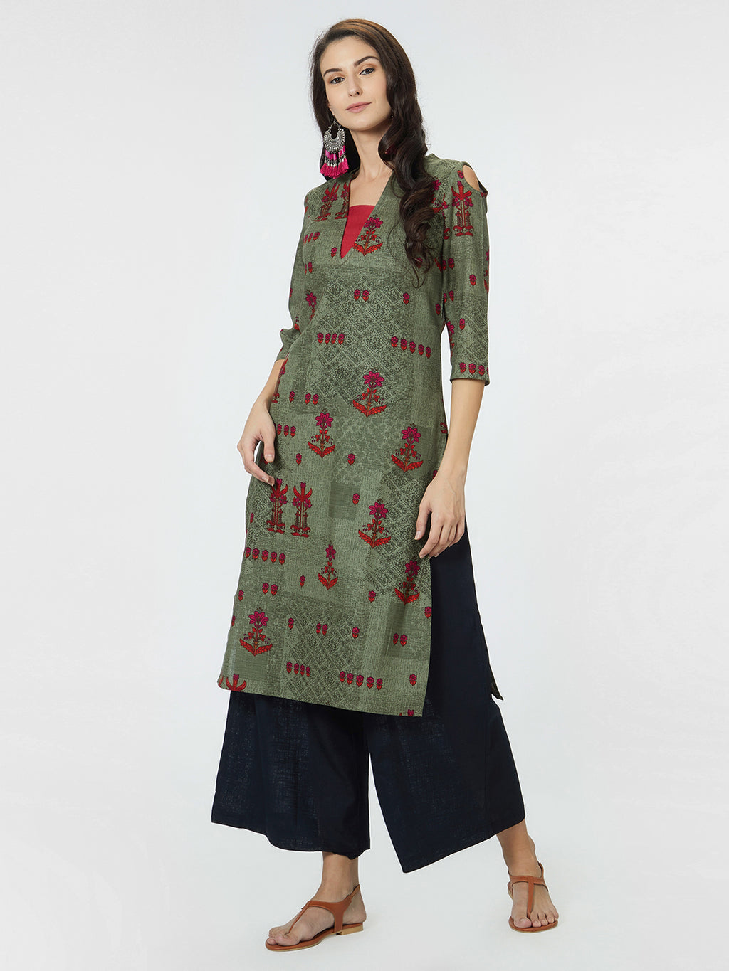 Olive Green & Red Printed Straight Kurta