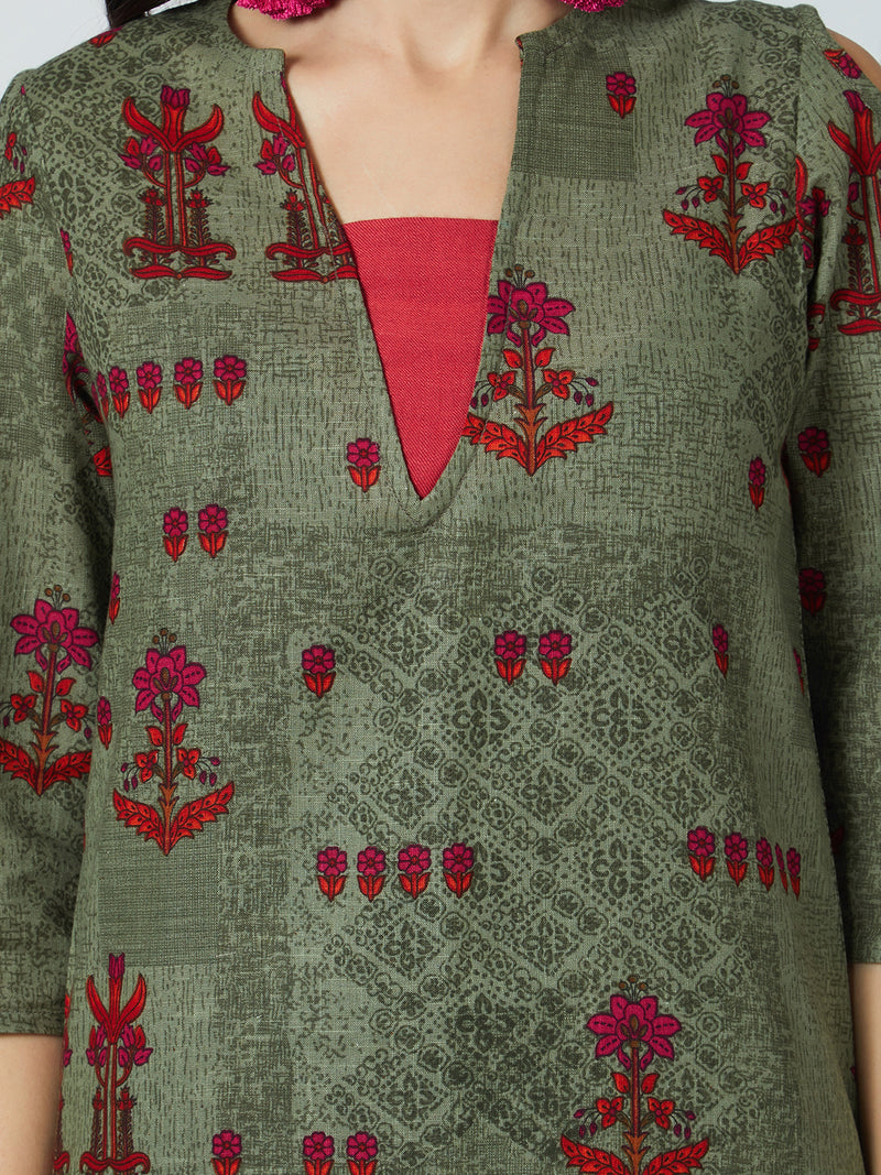 Olive Green & Red Printed Kurta