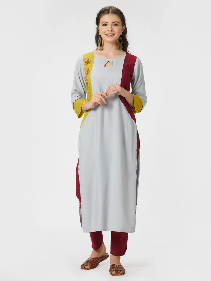 Grey Straight Kurta