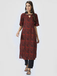 Maroon & Black Printed Straight Kurta