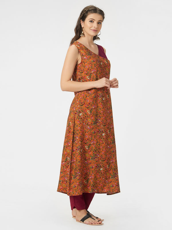 Orange & Burgundy Printed Kurta