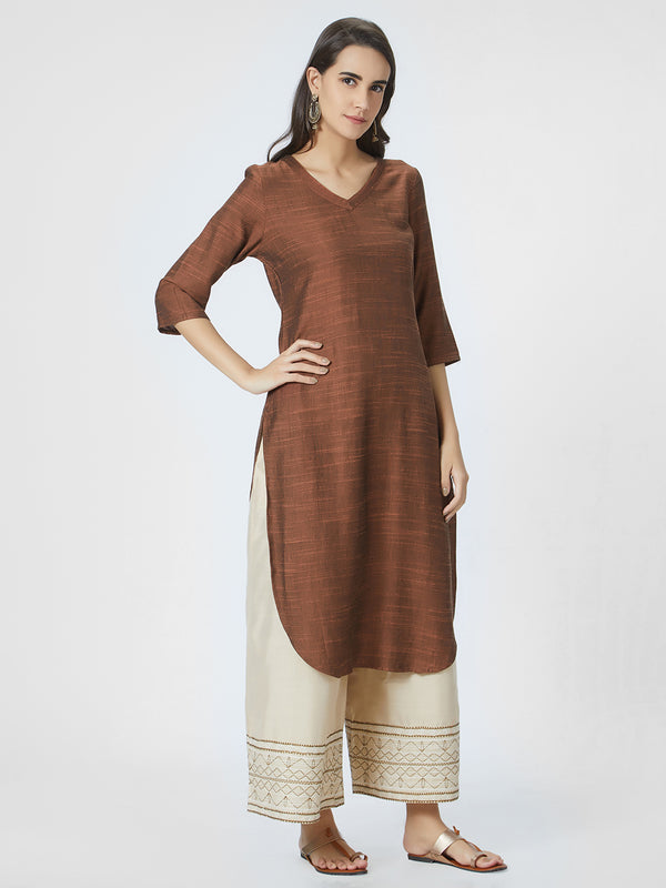 Rust Solid Straight Kurta