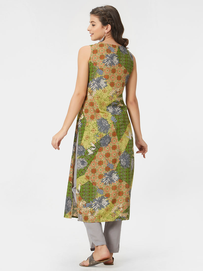 Green Printed Kurta