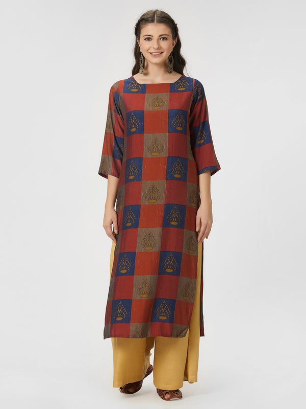 Red & Blue Printed Straight Kurta