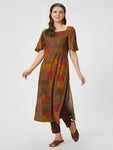 Brown & Red Printed Straight Kurta