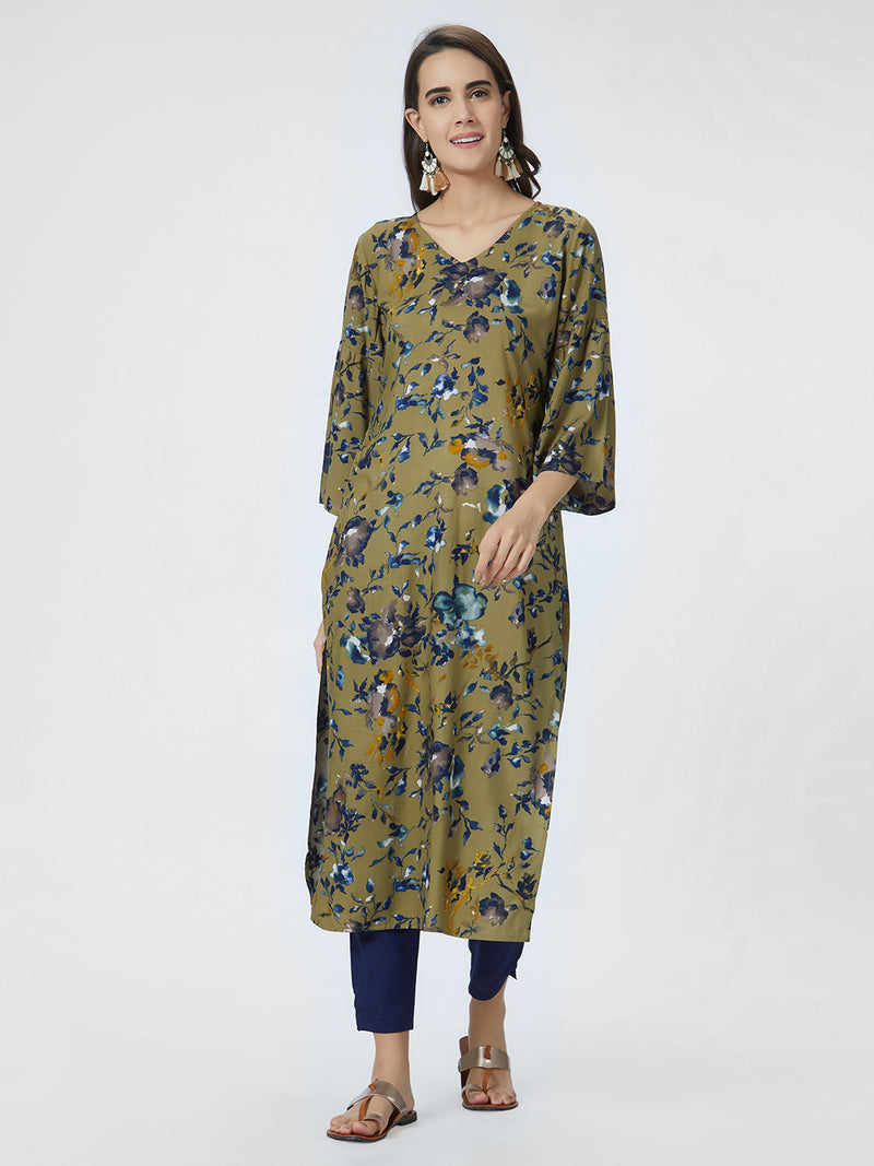 Olive Green & Blue Printed Straight Kurta