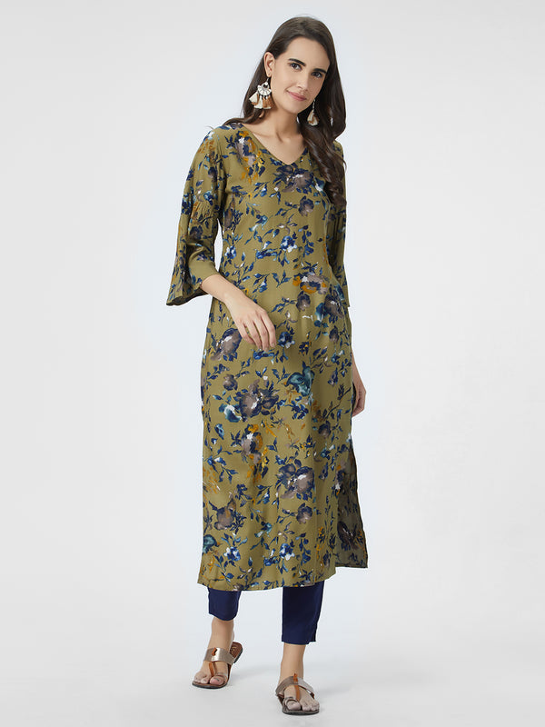 Olive Green & Blue Kurta