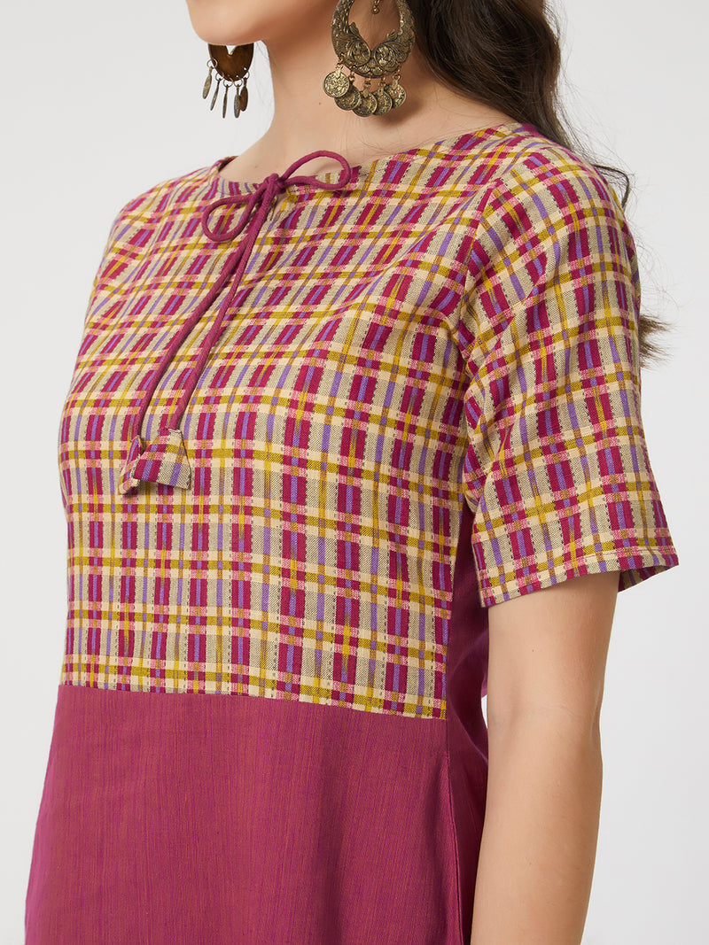Magenta Checked Kurta